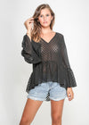 CARMEN TOP - SHEER BLACK POLKA DOTS