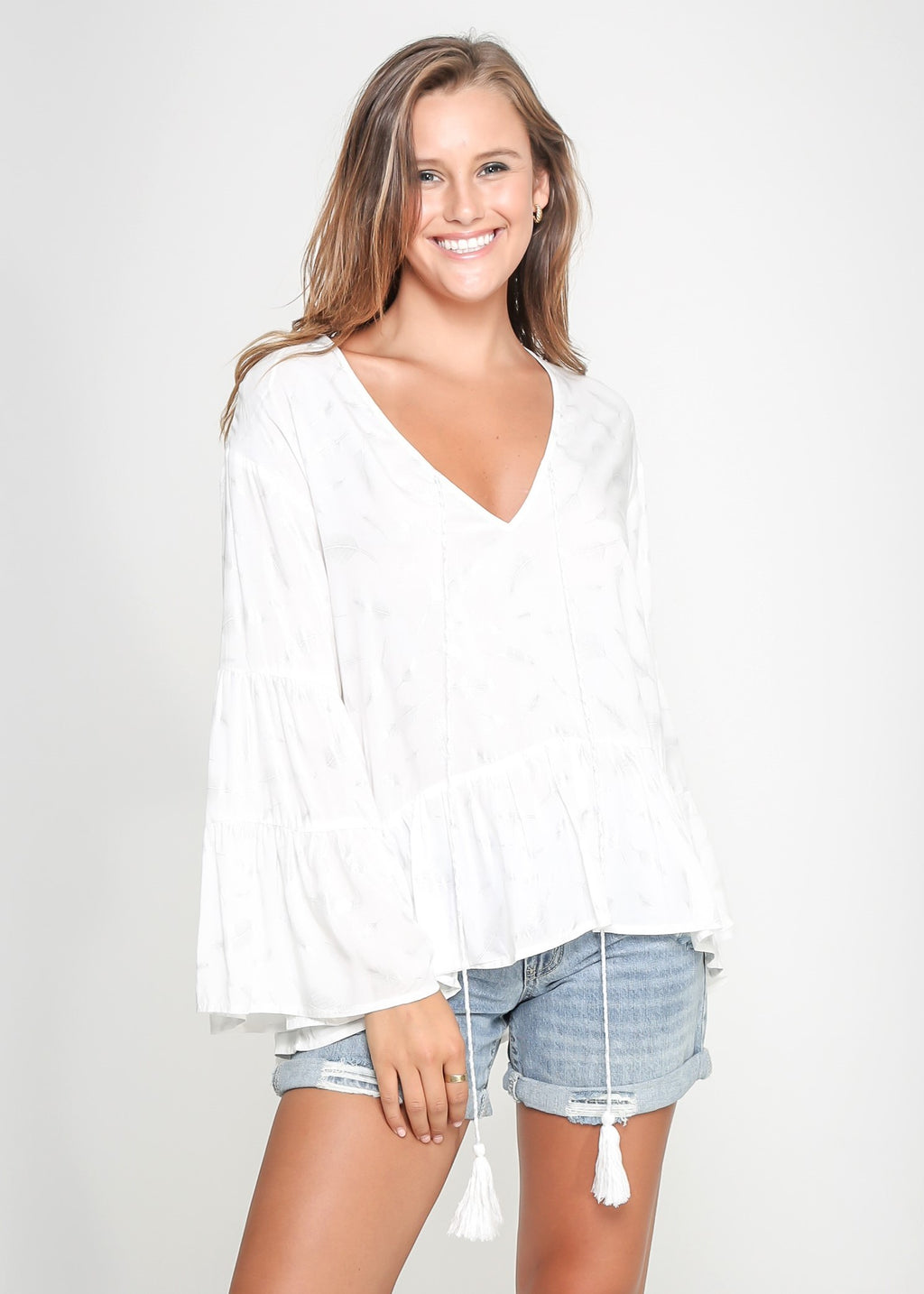 FEATHER BELL TOP - WHITE