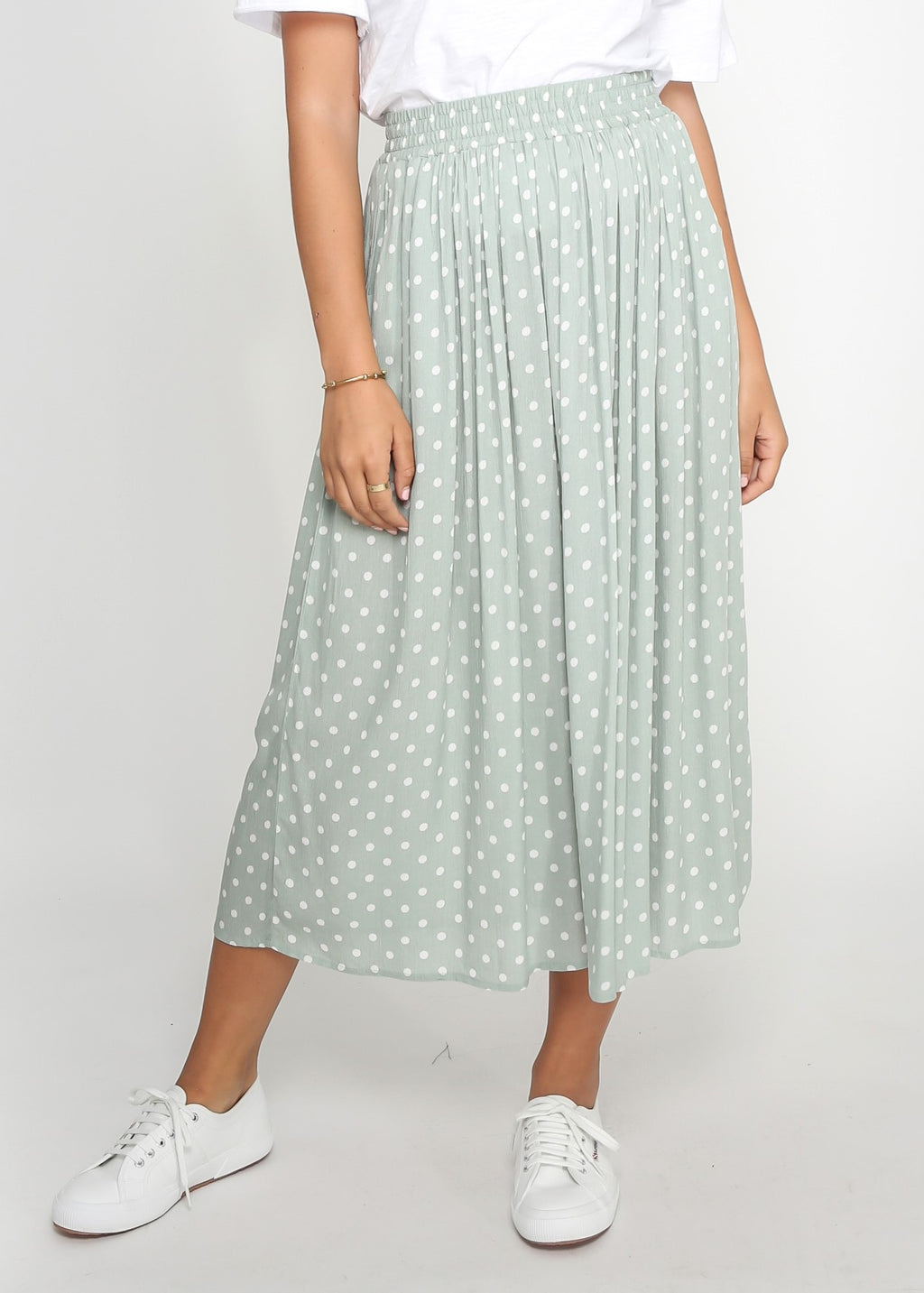 JEM SKIRT - SAGE POLKA DOT - MARK DOWN MADNESS