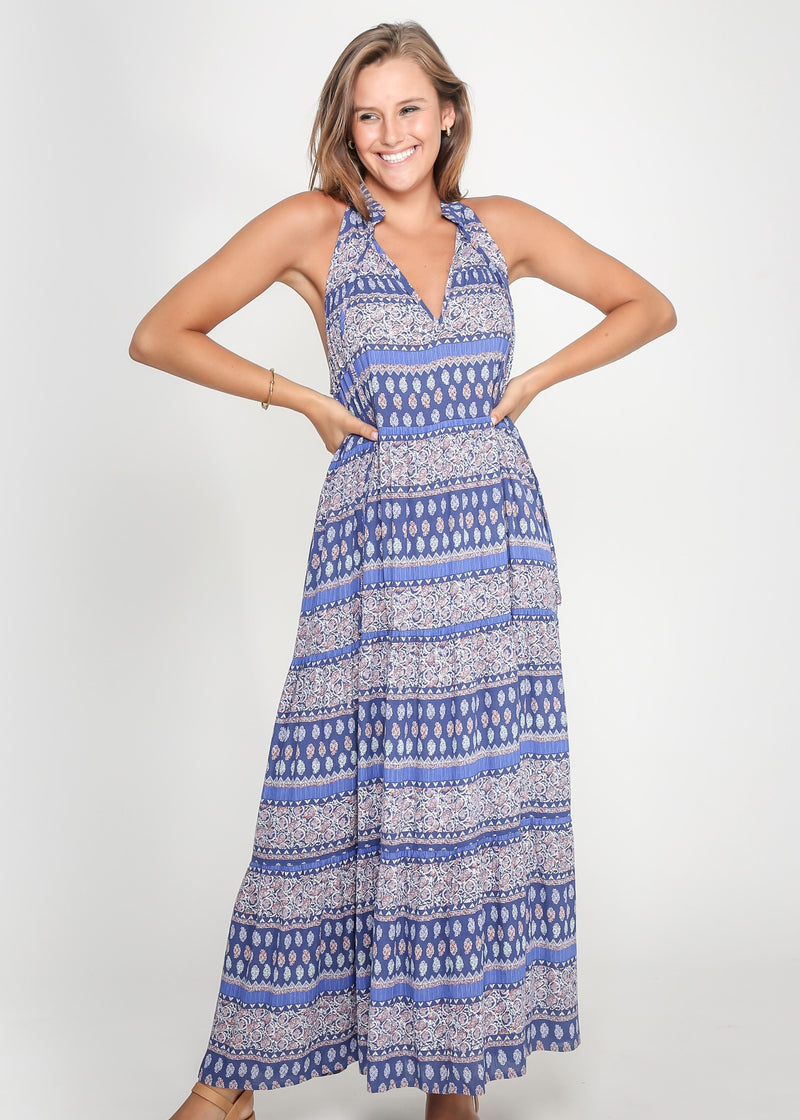 CHELSY DRESS - BOHO BLUE PRINT - MARK DOWN MADNESS