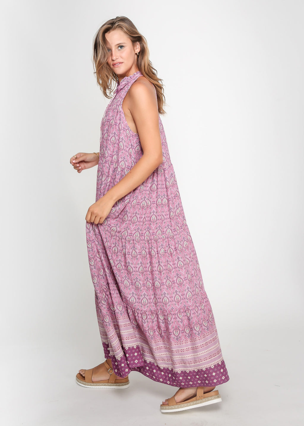 CHELSY DRESS - PURPLE PRINT - MARK DOWN MADNESS