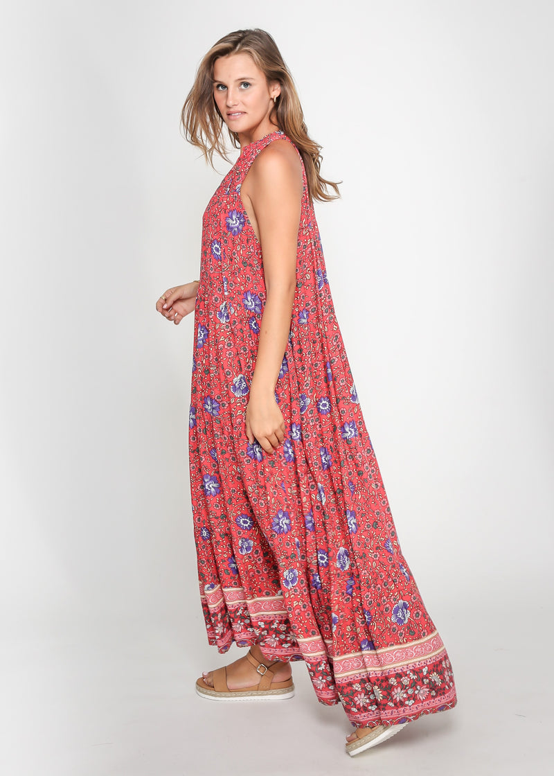 CHELSY DRESS - RED PRINT - MARK DOWN MADNESS