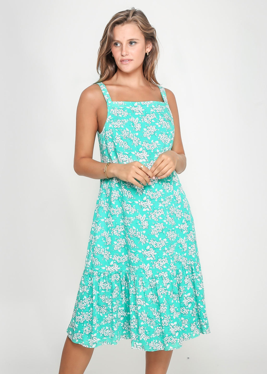 CLAIRE STRAP DRESS - GREEN FLORAL