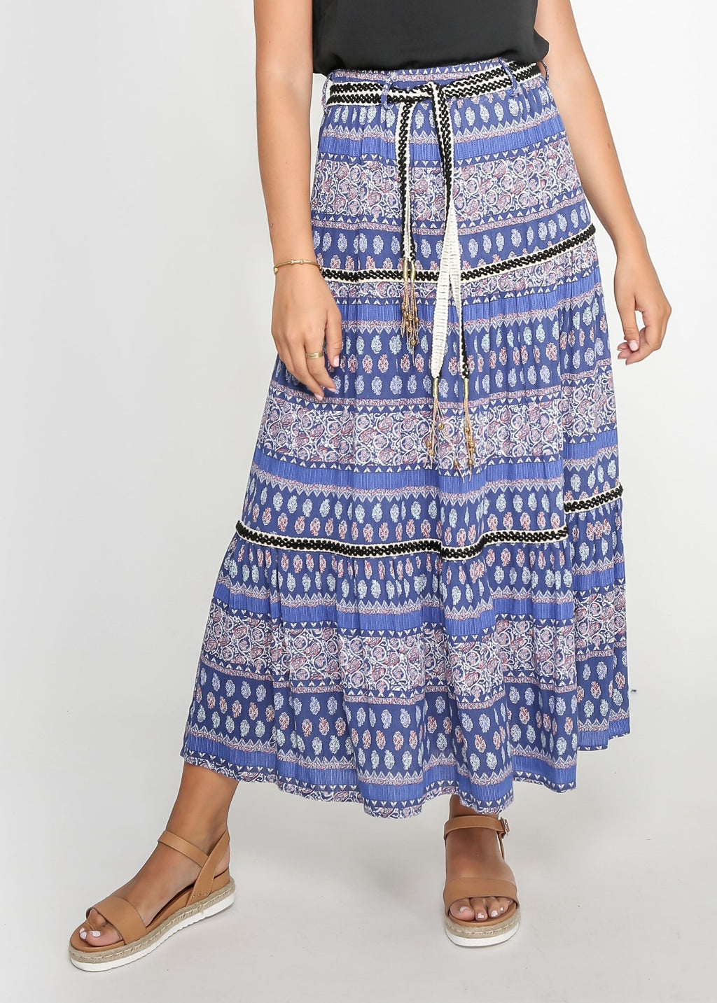 DIVA SKIRT - BOHO BLUE PRINT - MARK DOWN MADNESS
