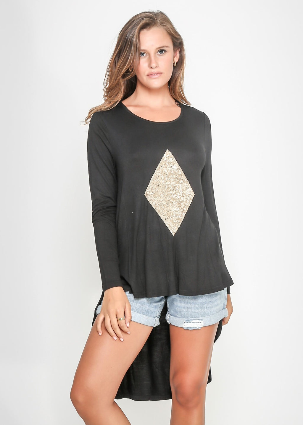 DIAMOND HIGH LOW TEE - BLACK