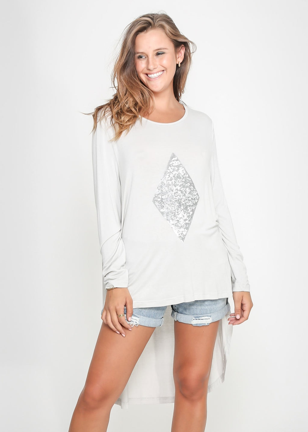 DIAMOND HIGH LOW TEE - GREY