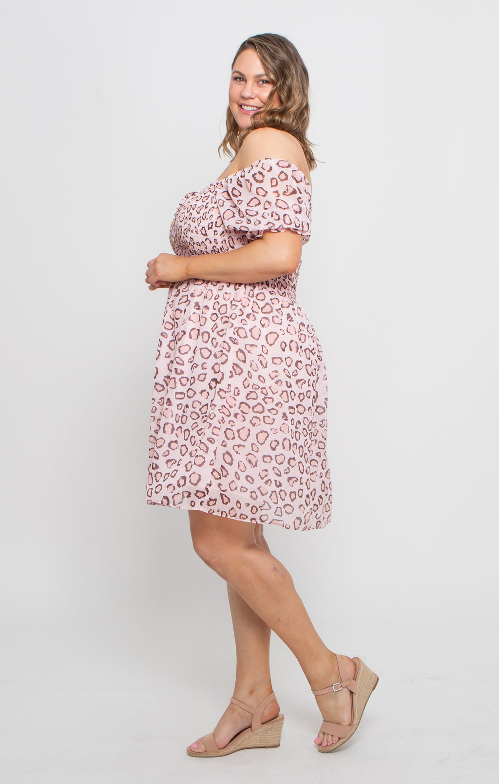 FARAH DRESS - BLUSH LEOPARD
