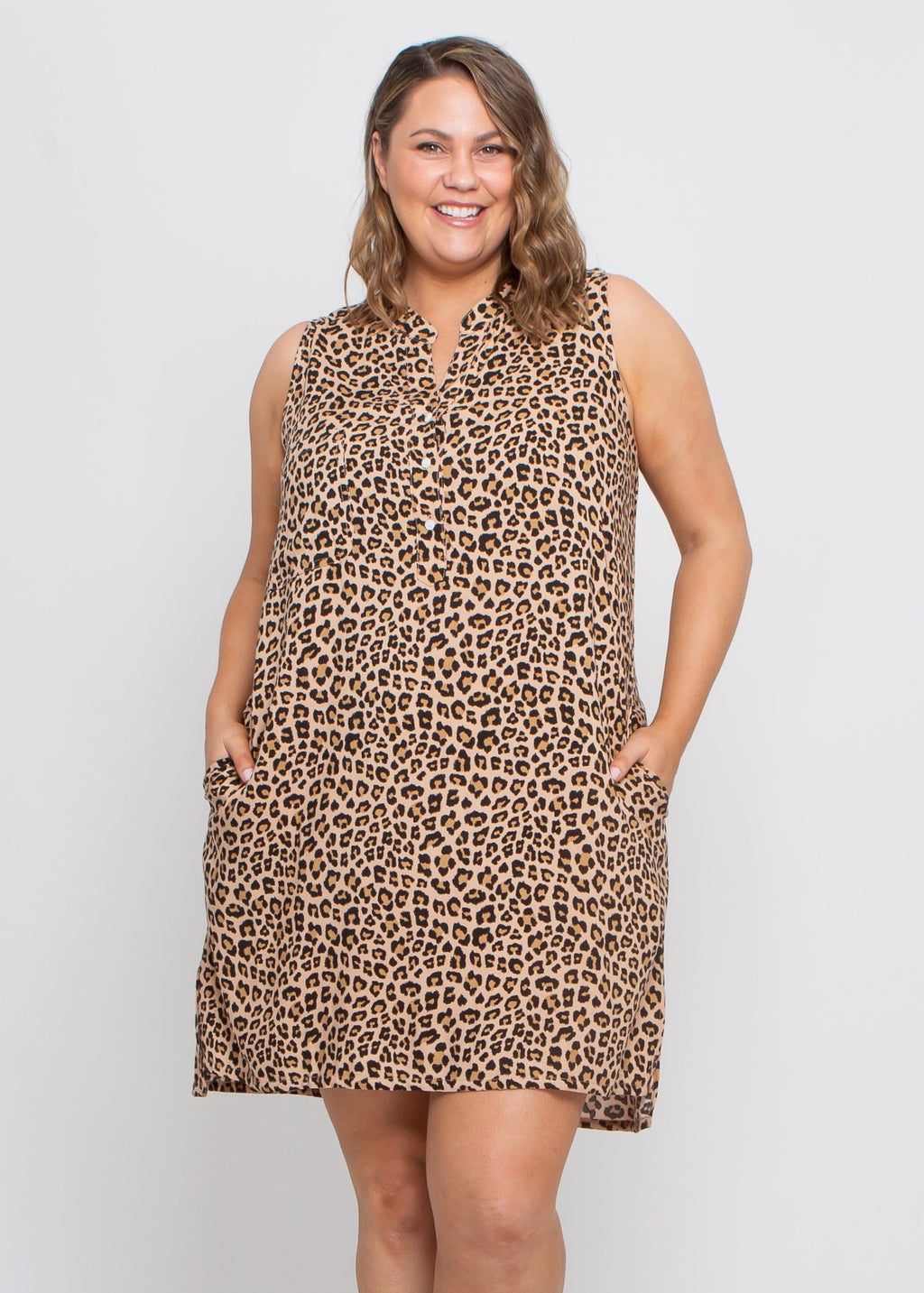 CARLA DRESS - CAMEL LEOPARD