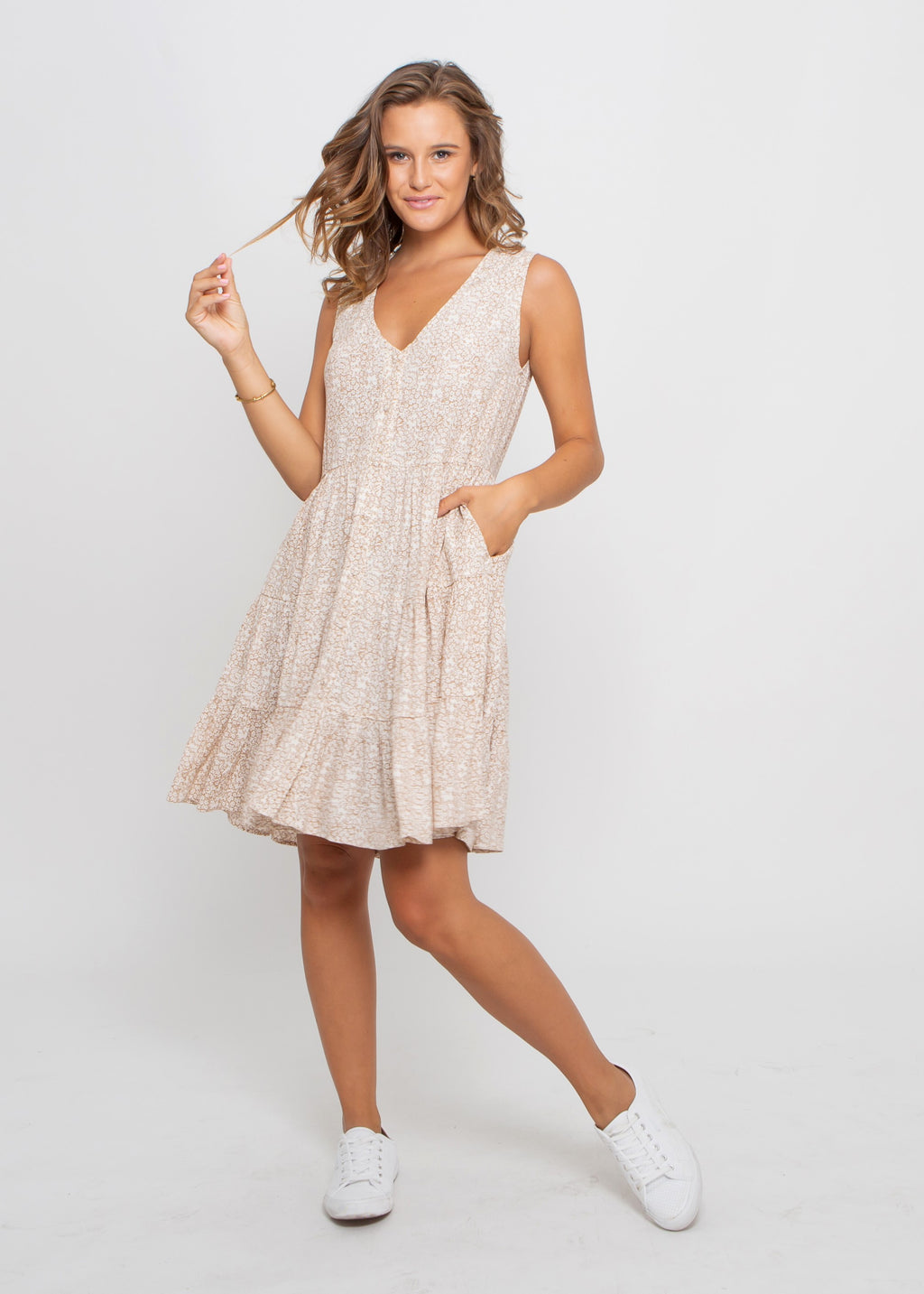 MEI DRESS - BEIGE PRINT