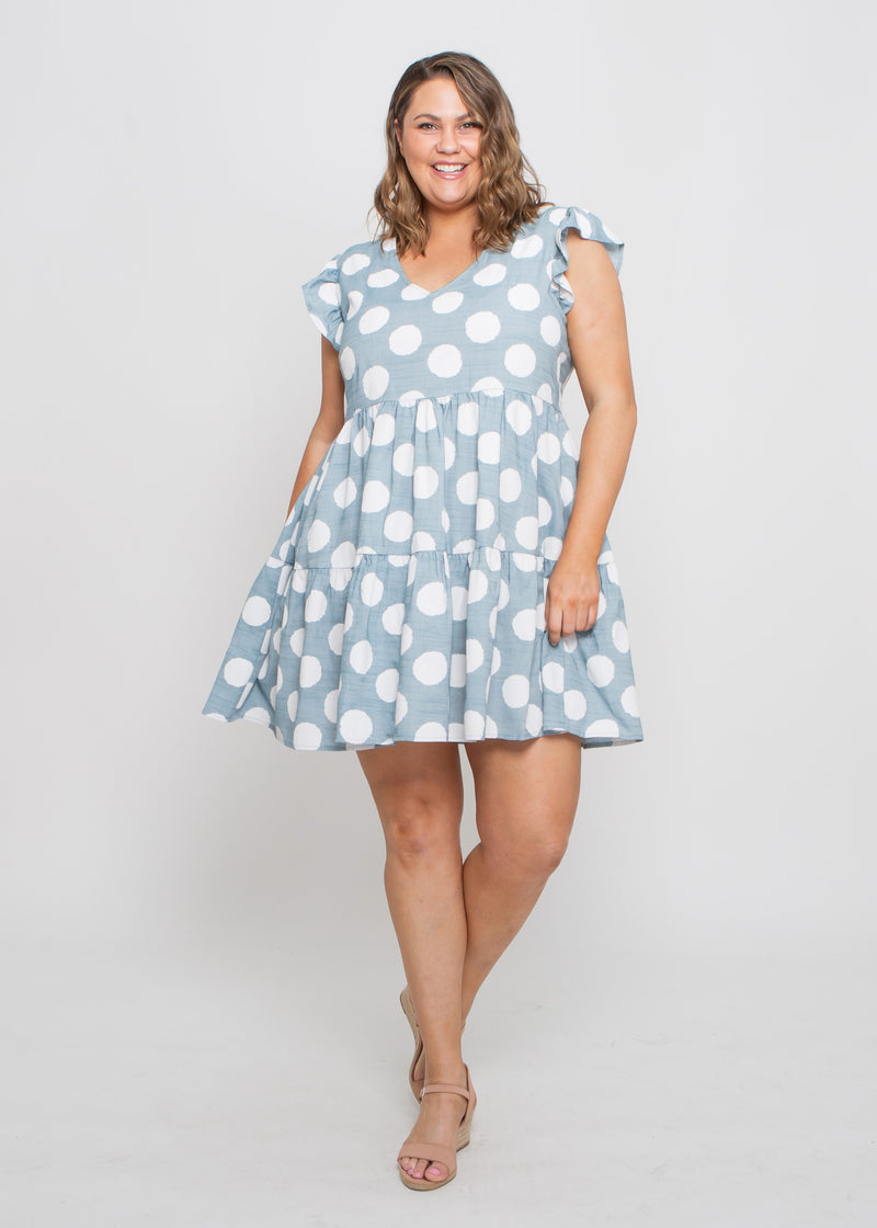 SHANLEY V-NECK DRESS - BLUE DOT