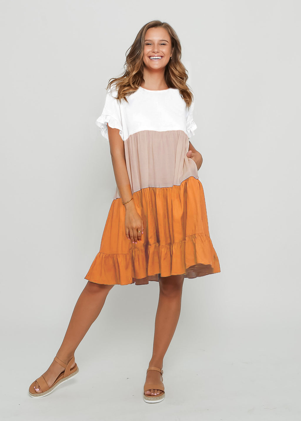 ZORA DRESS - ORANGE COLOUR BLOCK