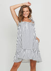NELA DRESS - NAVY STRIPE