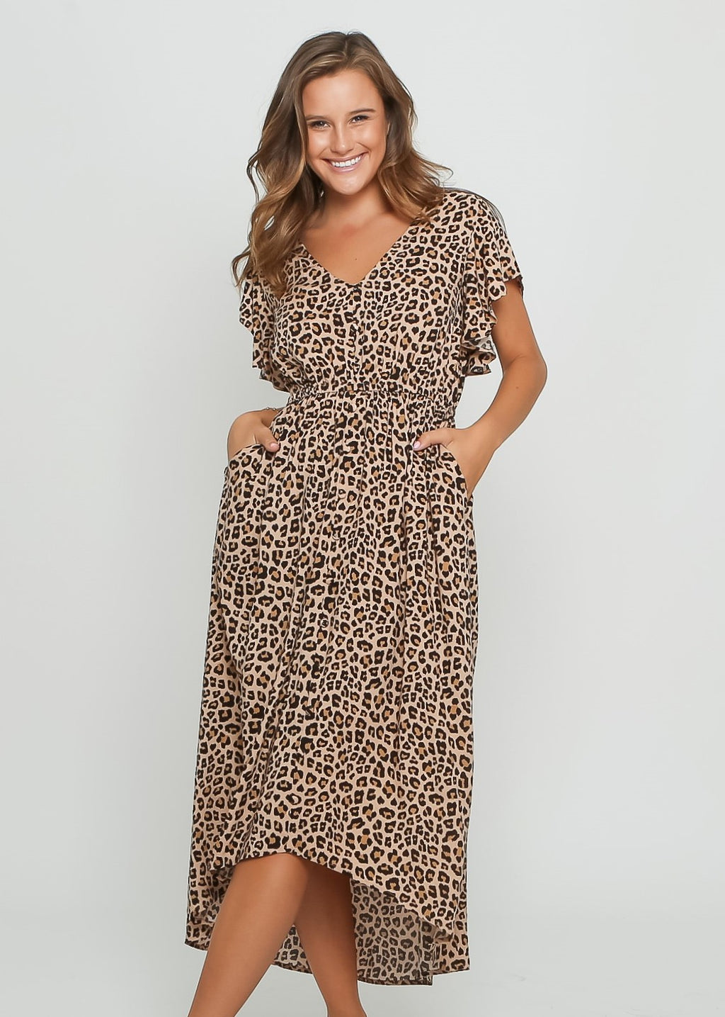 JEMIMA DRESS - BEIGE LEOPARD