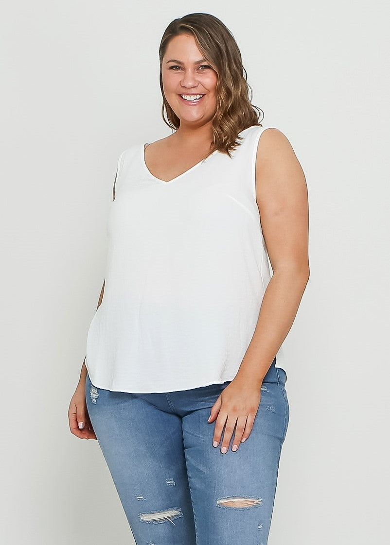 V NECK CAMI - WHITE