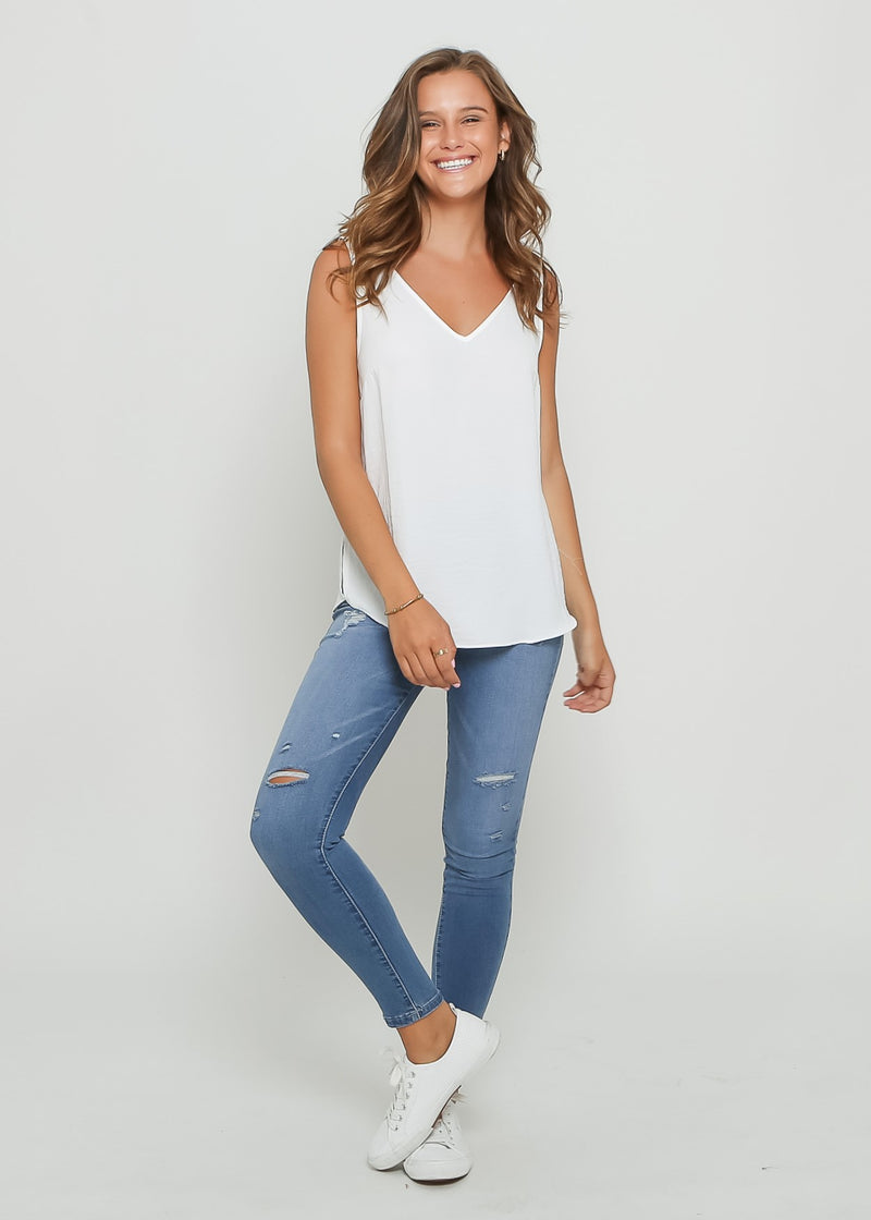 ELLA NECK CAMI - WHITE
