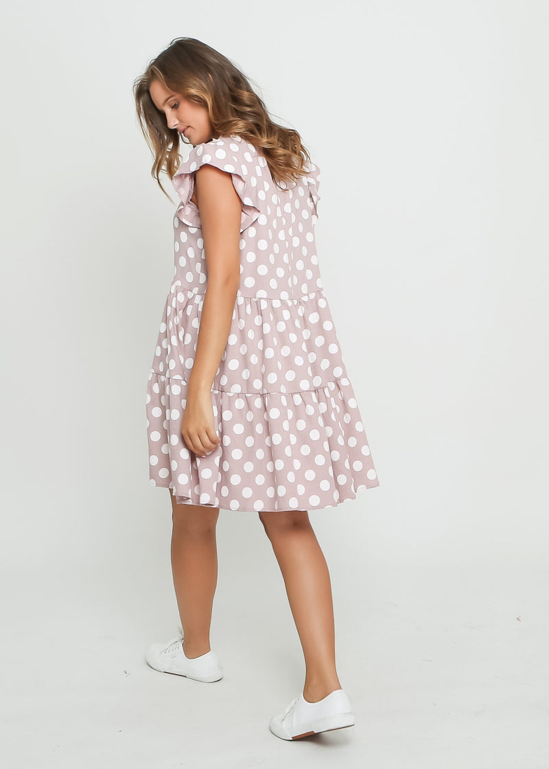CHELSY DRESS - SEA FOG DOT