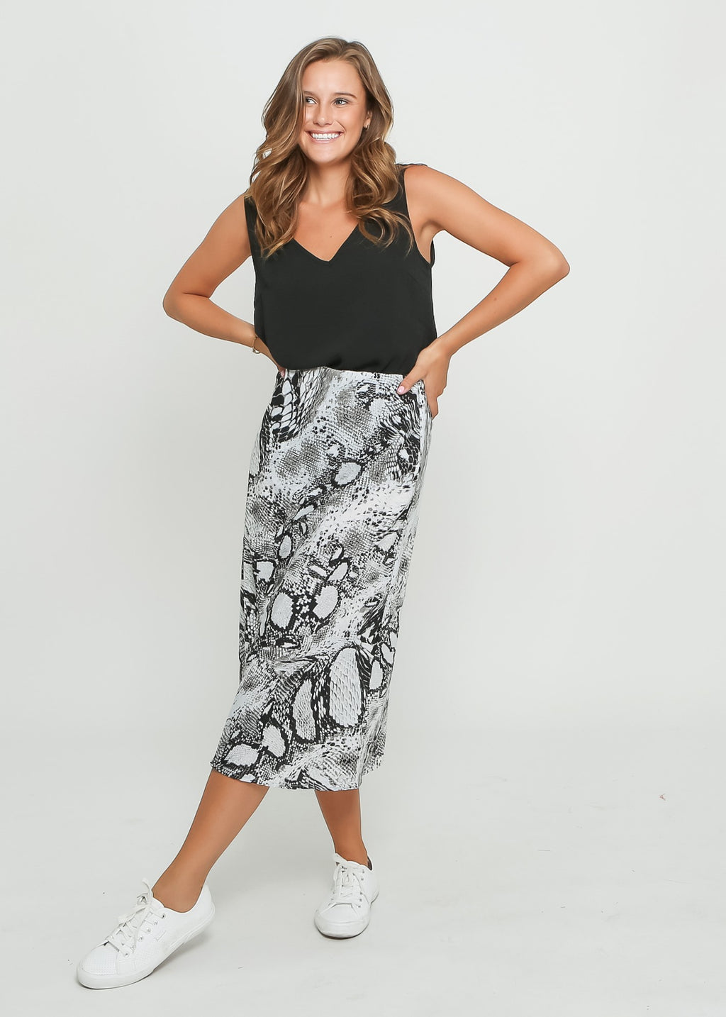 ALLA SKIRT - GREY SNAKE PRINT