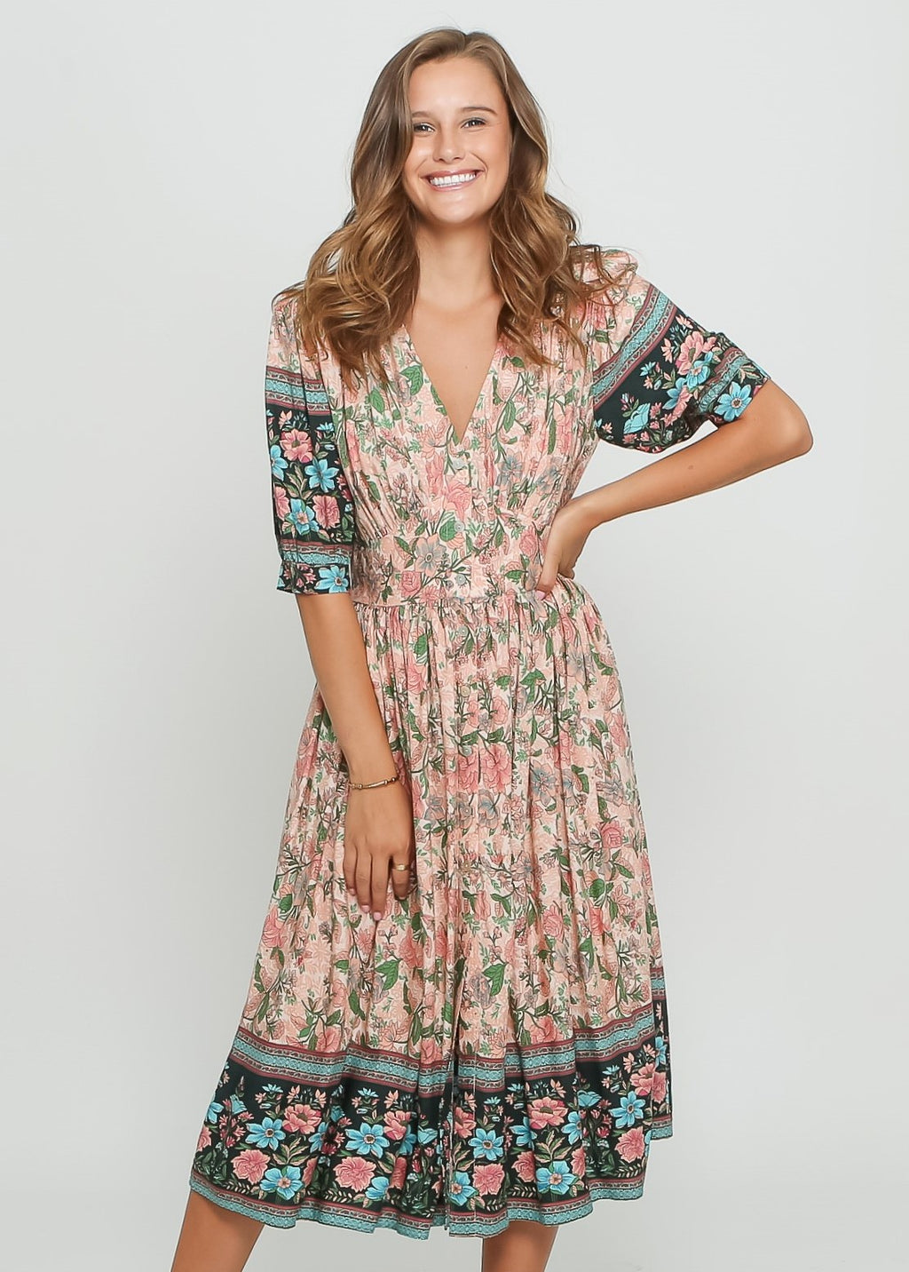 SOPHIE BOHO DRESS - PEACH FLOARL