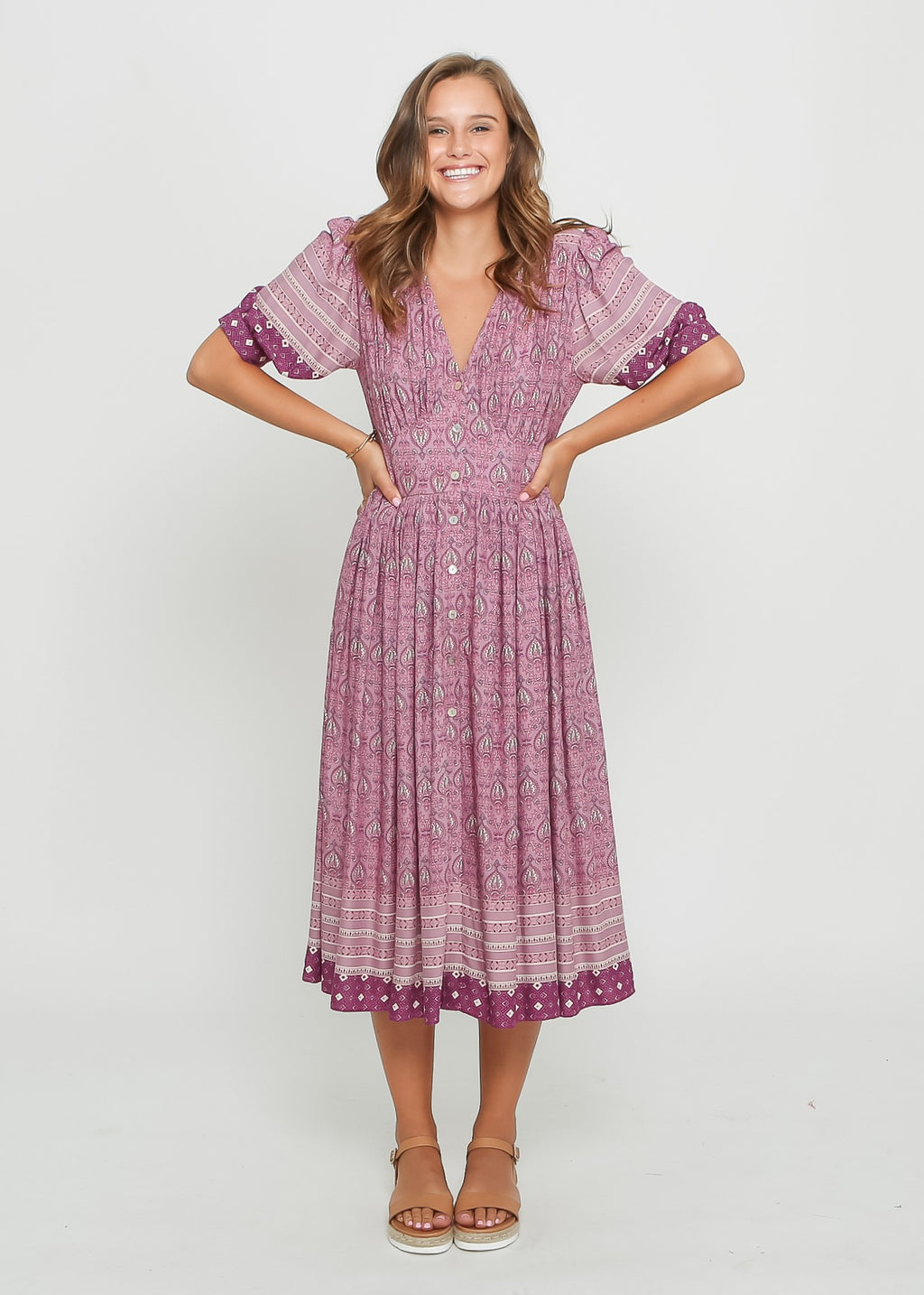 SOPHIE BOHO DRESS - PURPLE FLOARL