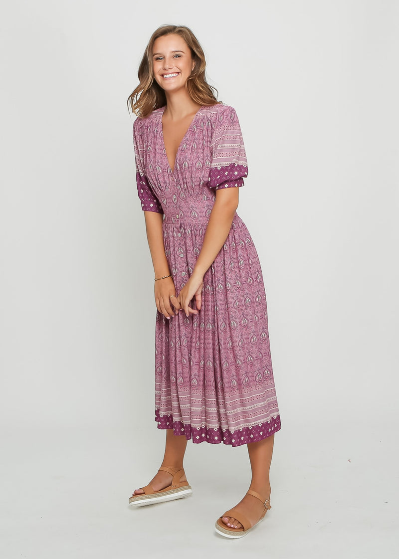 SOPHIE BOHO DRESS - PURPLE FLOARL - MARK DOWN MADNESS
