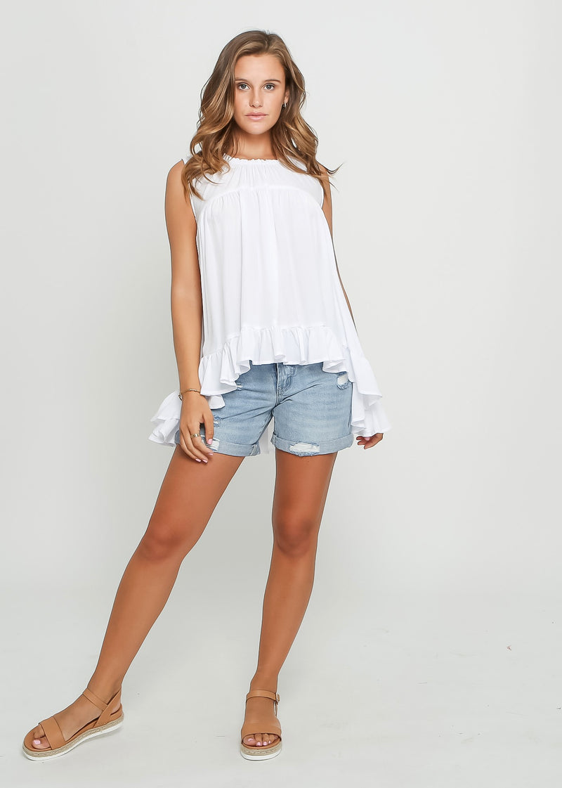 RUBY SLEEVE-LESS TOP - WHITE