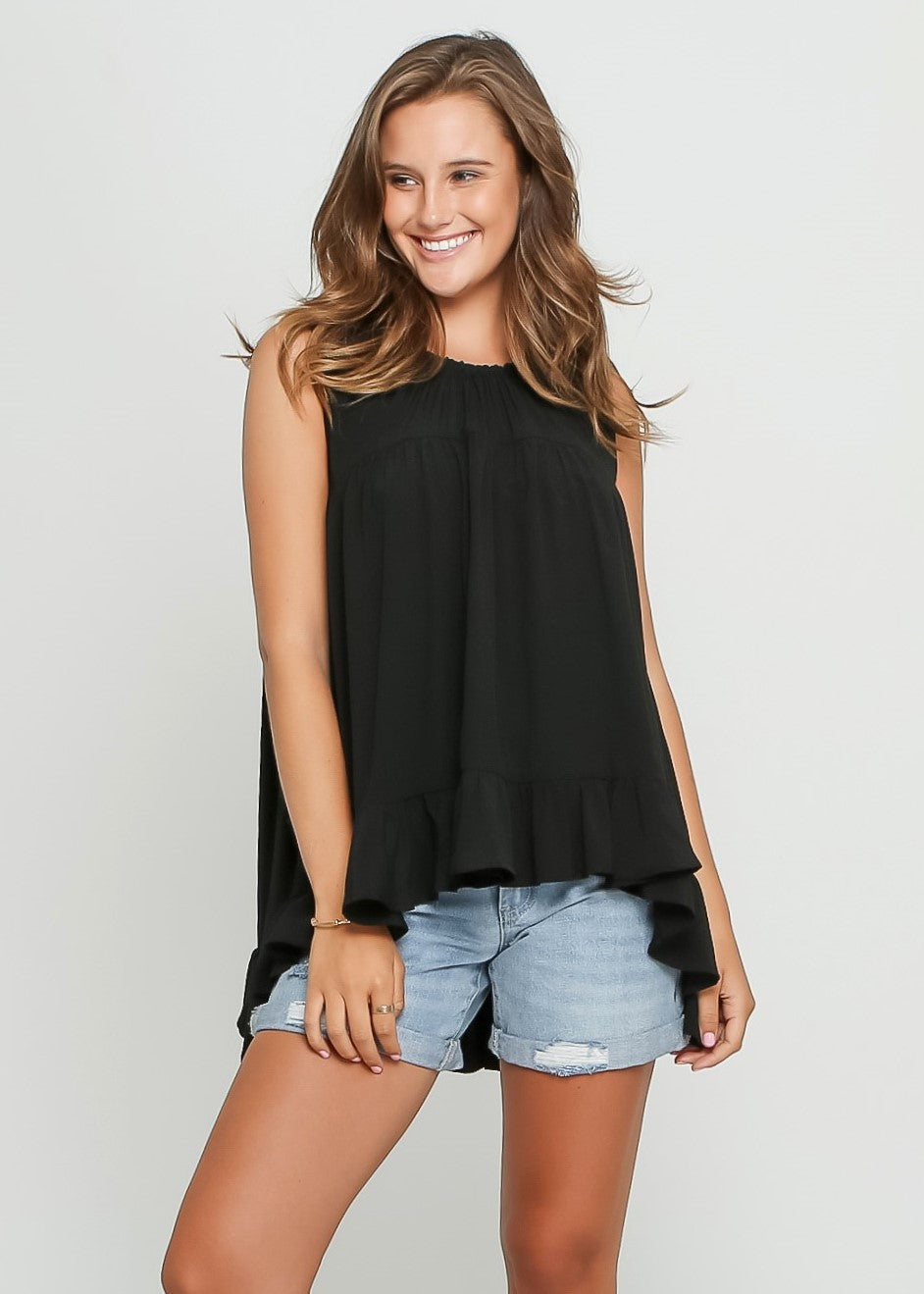 RUBY SLEEVE-LESS TOP - BLACK