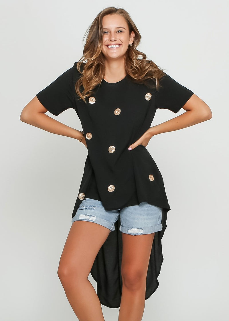 DEVINE SHORT SLEEVE TOP - BLACK