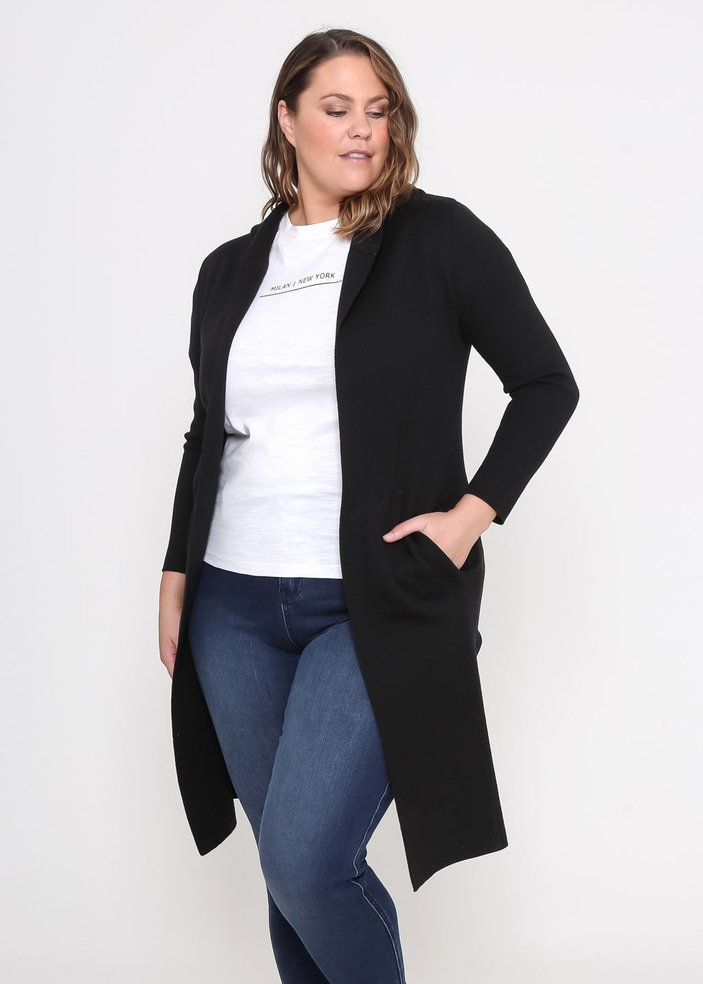 ROBYN HOODED CARDIGAN - BLACK