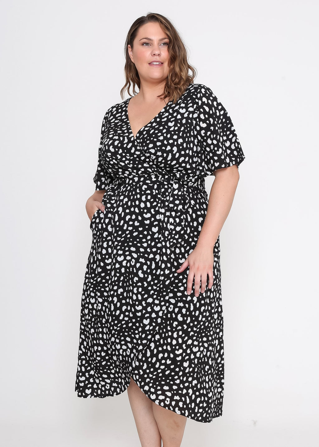 ZOE WRAP DRESS - BLACK ANIMAL PRINT
