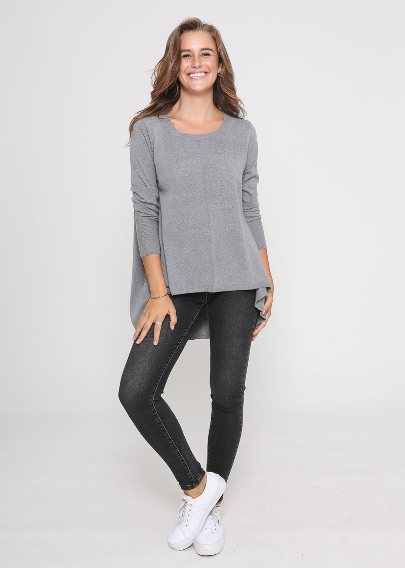 WINDSOR LONG SLEEVE KNIT - CHARCOAL