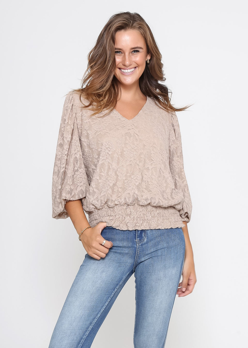 JESICA TOP - SAND LACE