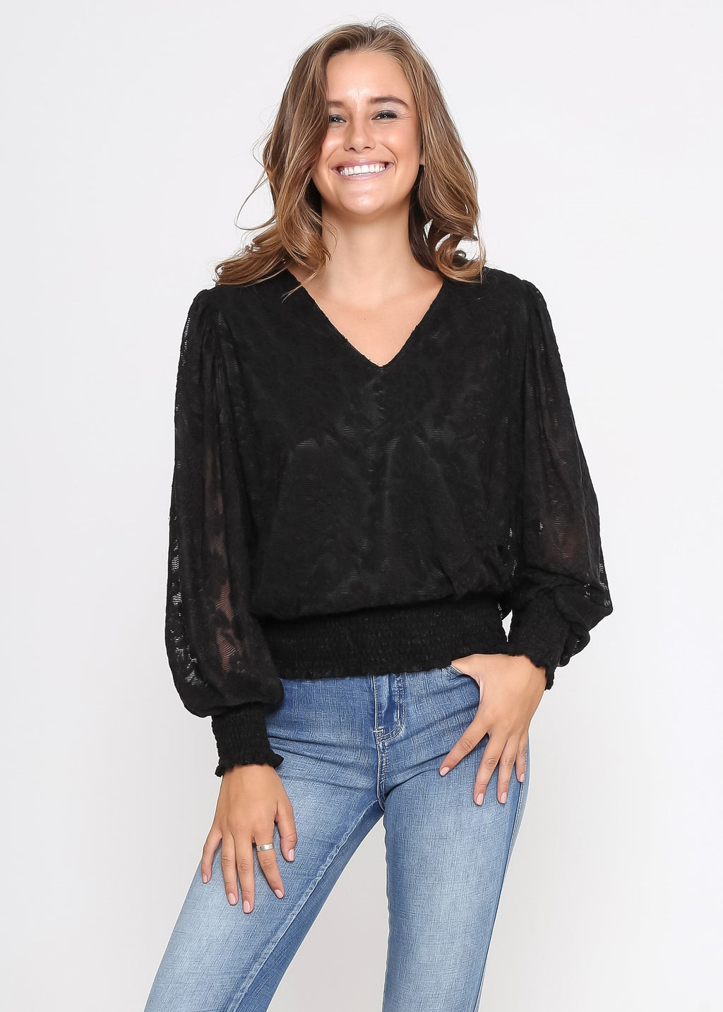 JESICA TOP - BLACK LACE