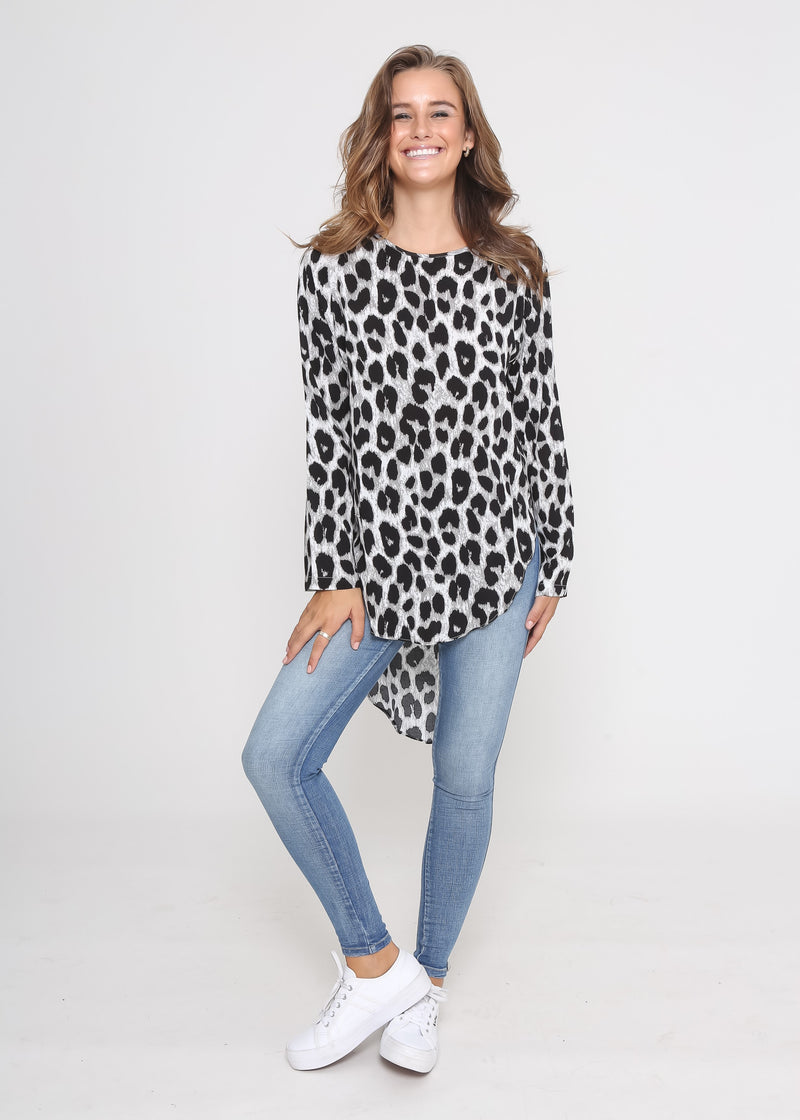 DARCY TOP - GREY LEOPARD
