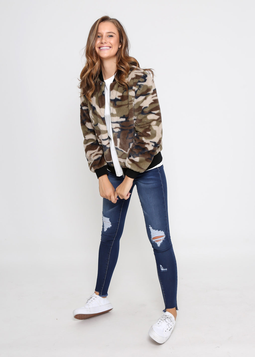 CASEY FLEECE BOMBER JACKET - KHAKI CAMO PRINT - MARK DOWN MADNESS