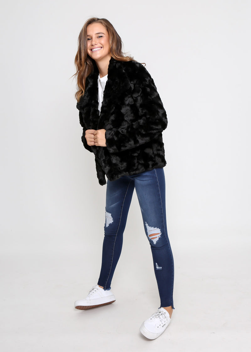 KIM FAUX FUR JACKET - BLACK