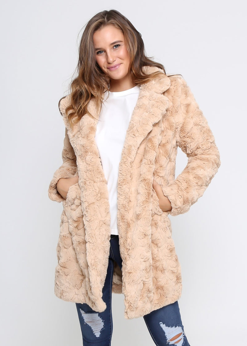 ALEX FAUX FUR COAT - NUDE