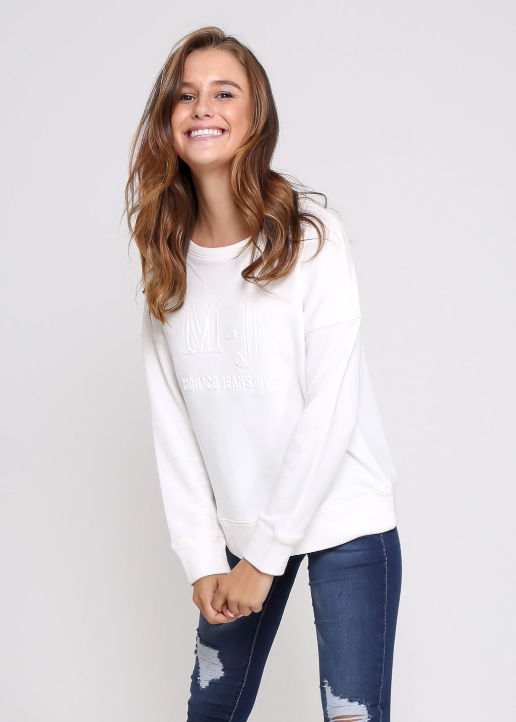 MONACO EMBOSSED SWEATER - WHITE