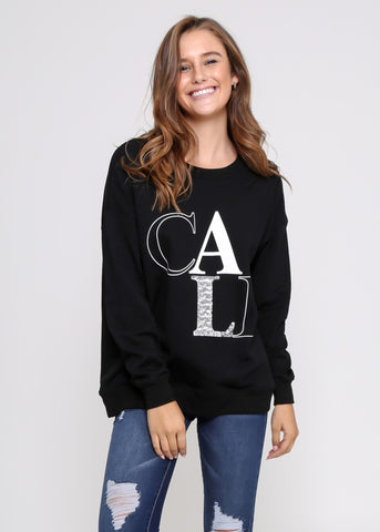 CELINE SWEATER - BLACK/WHITE ANIMAL