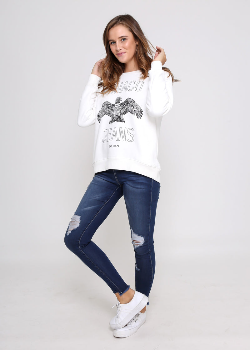 MONACO JEANS SWEATER - WHITE