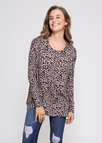 ELLA ASYMMETRIC TOP - GREEN LEOPARD