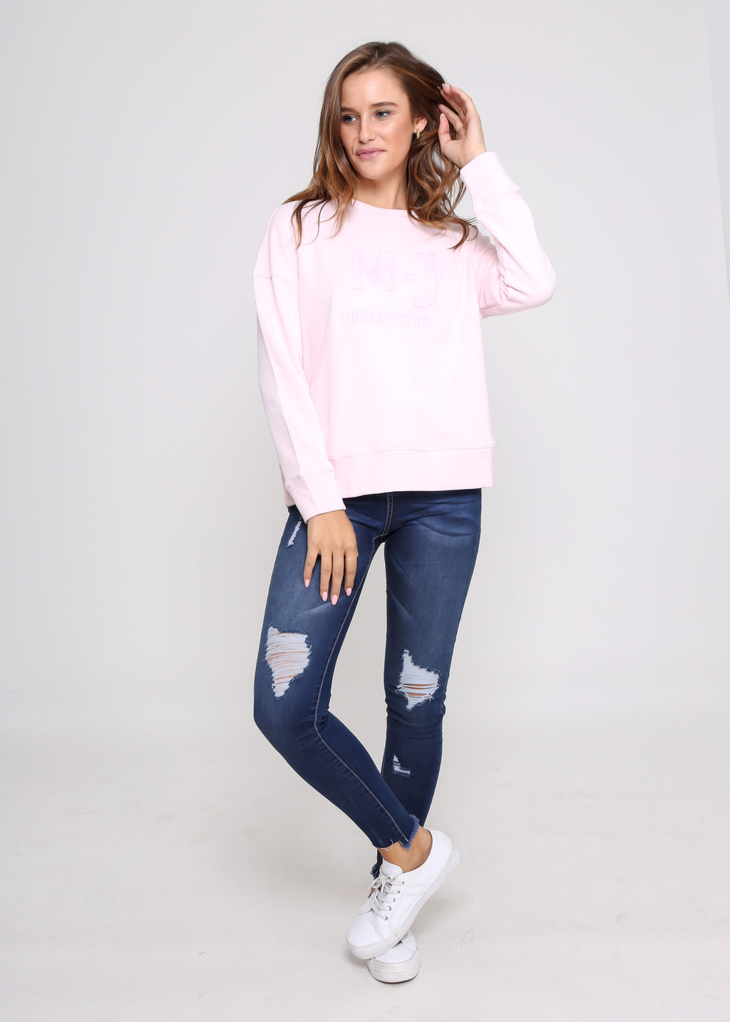 MONACO EMBOSSED SWEATER - PINK