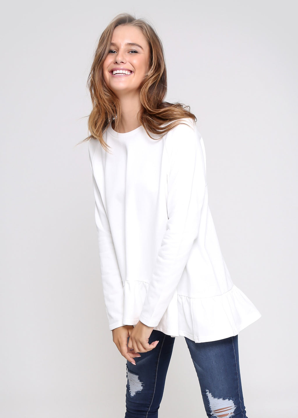 AMY FRILL TOP - WHITE