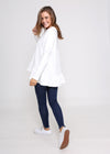 AMY FRILL TOP - WHITE - LAST STOCK