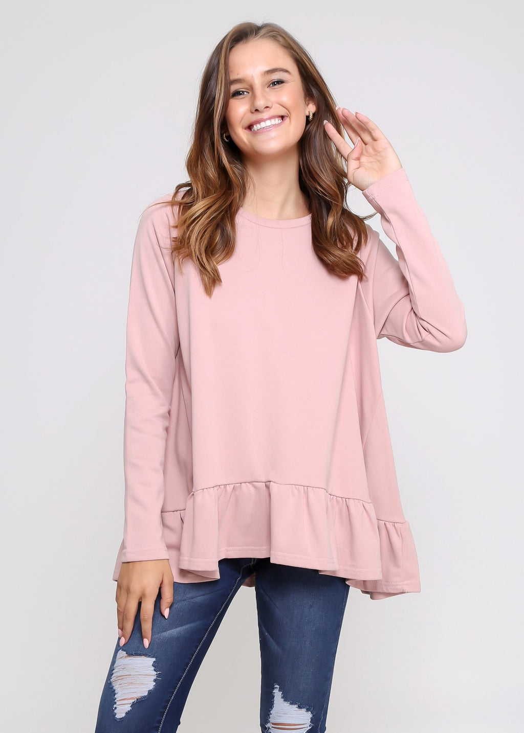 AMY FRILL TOP - BLUSH