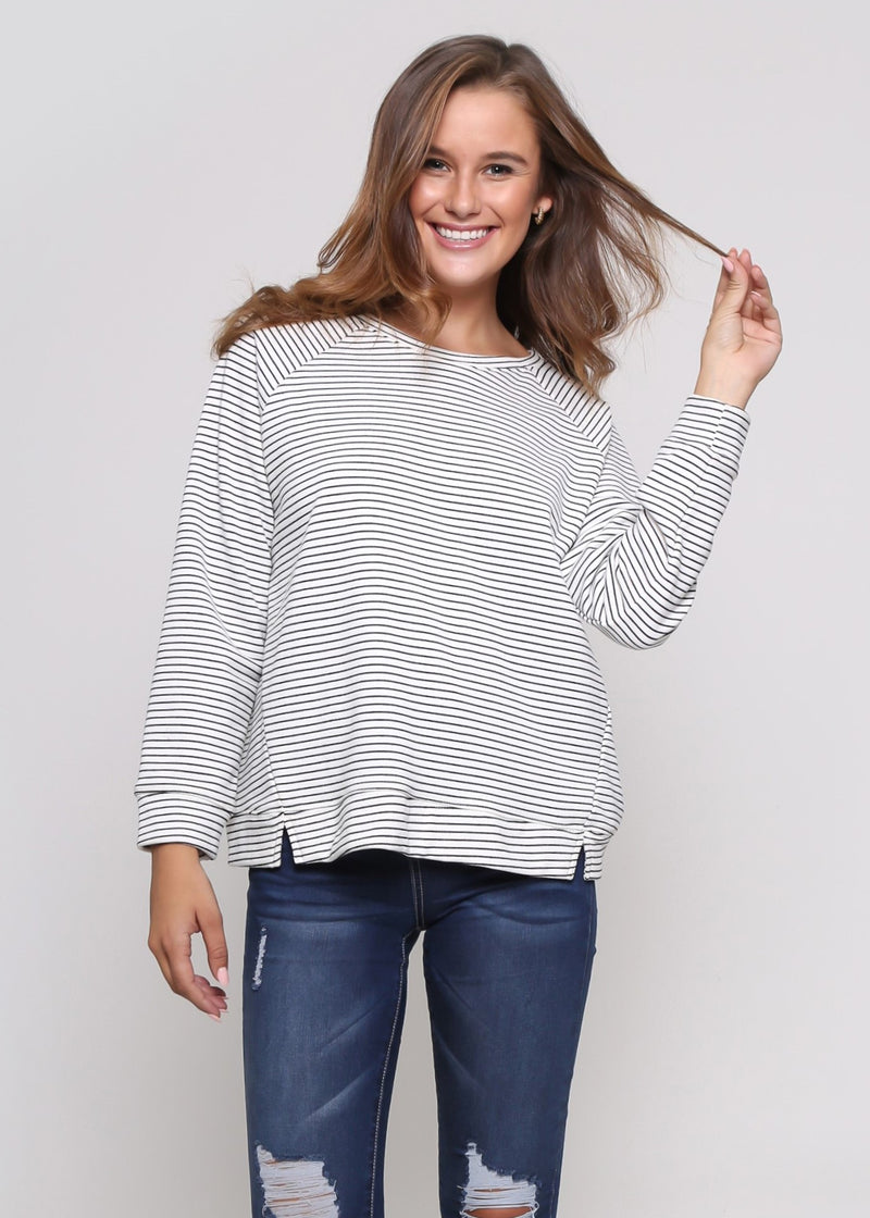 OLIVIA SWEATER - WHITE & BLACK STRIP