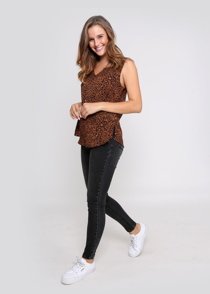 SAMMY CAMI - BLACK/RUST LEOPARD