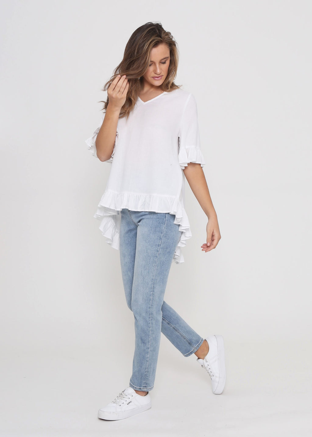JAY FRILL TOP - WHITE