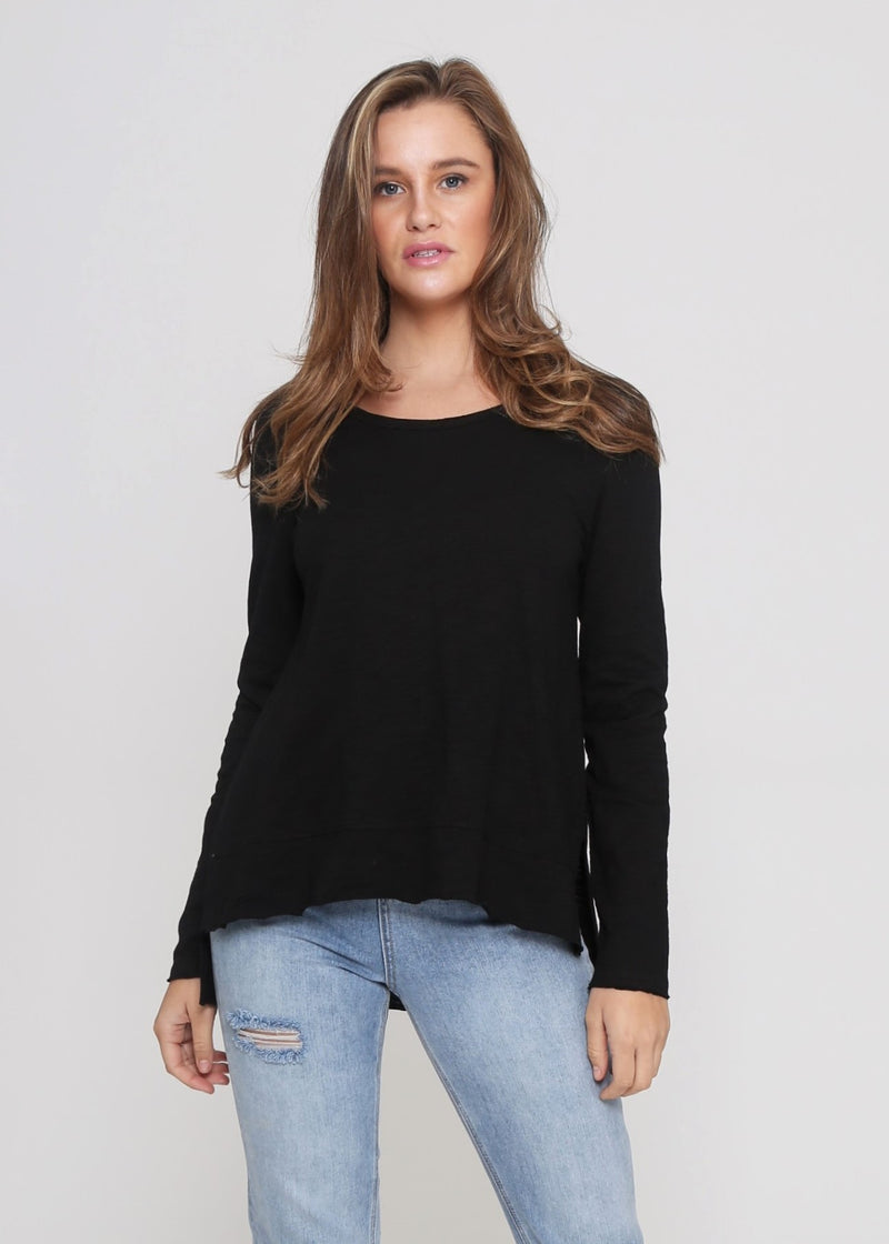 JESS LONG SLEEVE TOP - BLACK