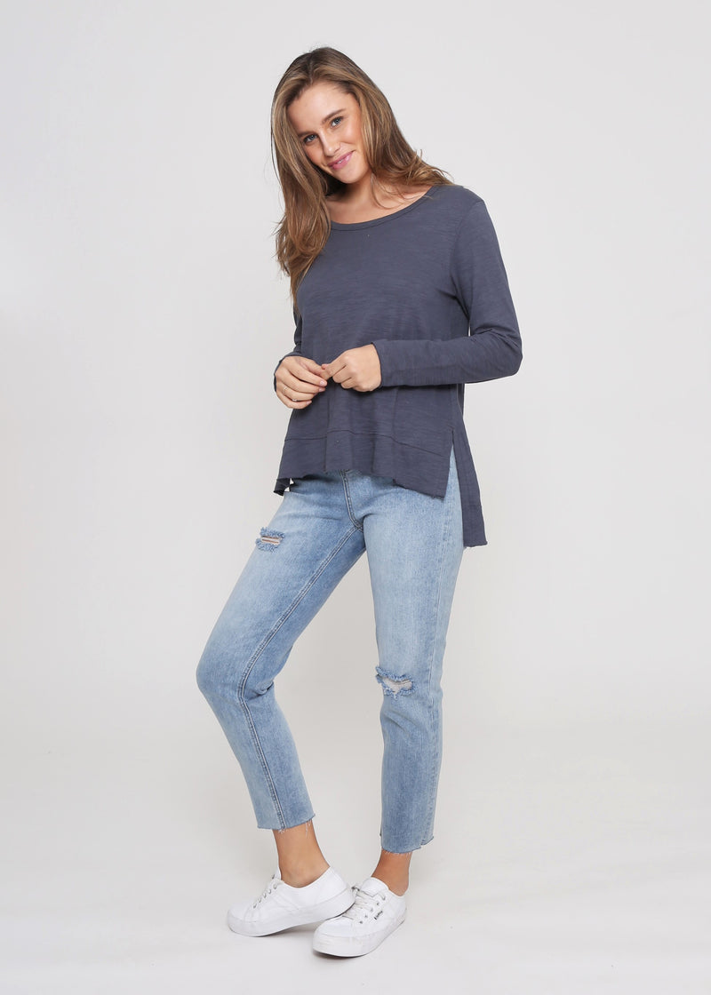 JESS LONG SLEEVE TOP - GUNMETAL