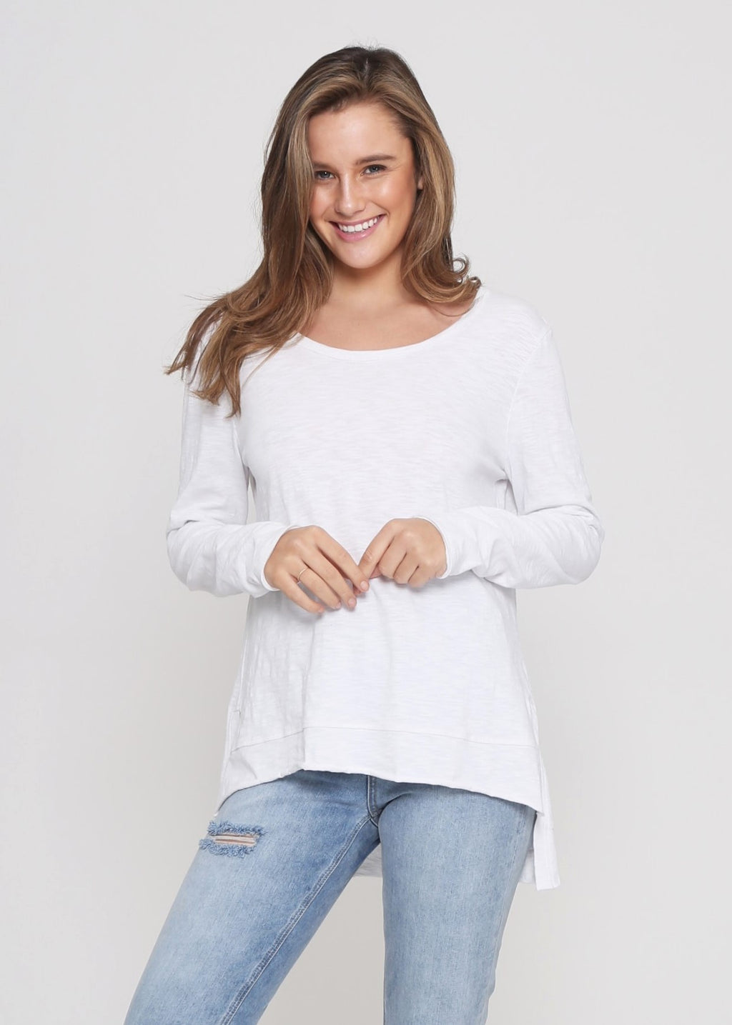 JESS LONG SLEEVE TOP - WHITE